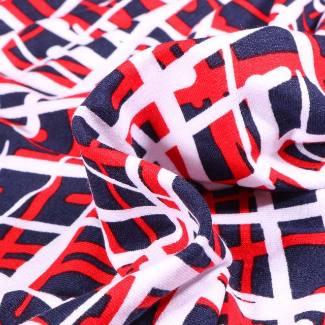 Tissu Jersey Viscose  Quadrillage abstrait rouge sur fond Bleu marine