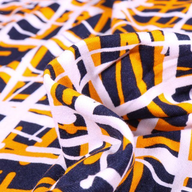 Tissu Jersey Viscose  Quadrillage abstrait jaune sur fond Bleu marine