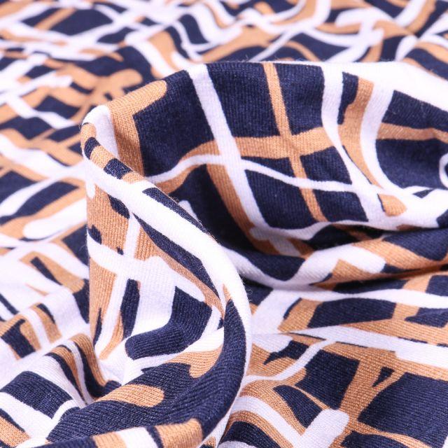 Tissu Jersey Viscose  Quadrillage abstrait beige sur fond Bleu marine