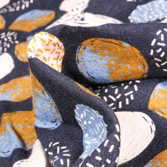 Tissu Jersey Viscose Lin Cercles divers motifs ocre sur fond Bleu marine