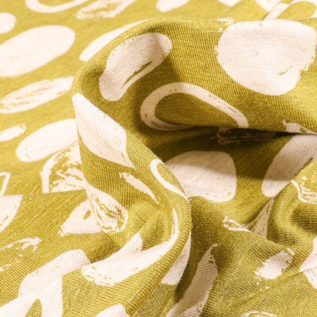 Tissu Jersey Viscose Lin Cercles et pois sur fond Vert