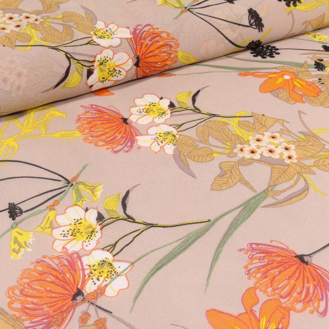 Tissu Mousseline Nupans et fleurs diverses sur fond Beige