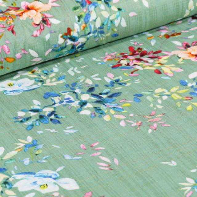 Tissu Voile de Coton et Viscose Fleurs colorées et quadrillages sur fond Vert menthe