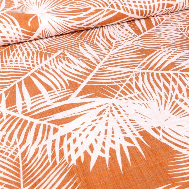 Tissu Coton Viscose Panama sur fond Terracotta
