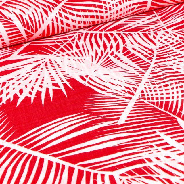 Tissu Coton Viscose Panama sur fond Rouge