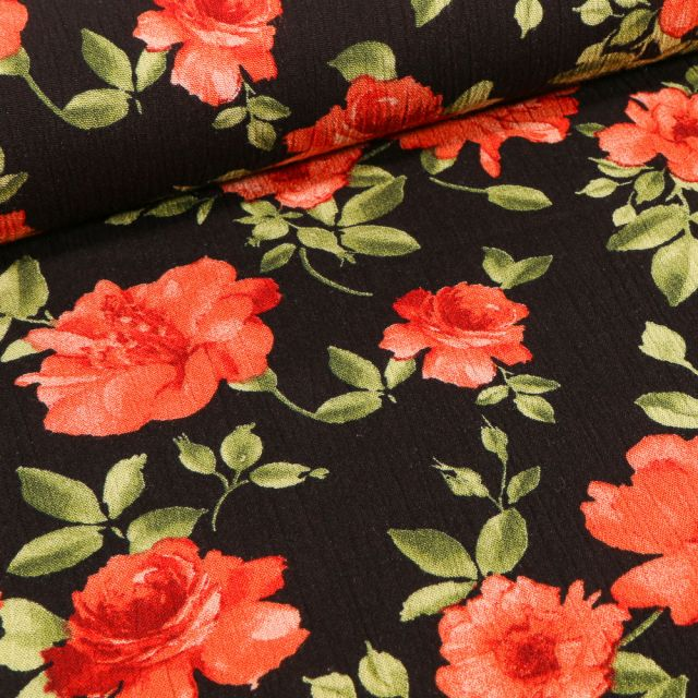 Tissu Crêpe Viscose Rose rouge sur fond Noir
