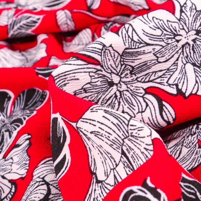Tissu Crêpe Mix Flowers sur fond Rouge