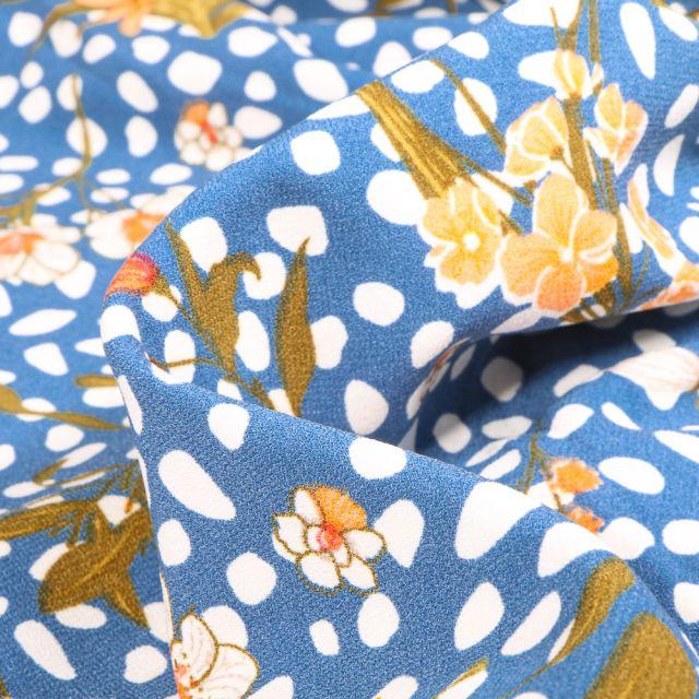 Tissu Crêpe Pois et fleurs sur fond Bleu ciel