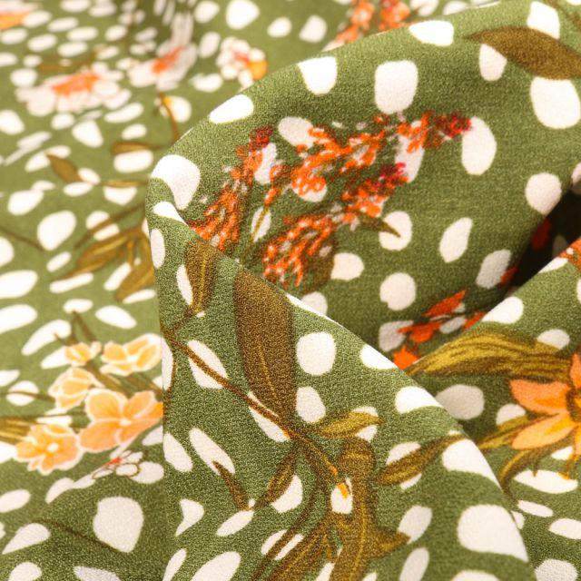 Tissu Crêpe Pois et fleurs sur fond Vert kaki