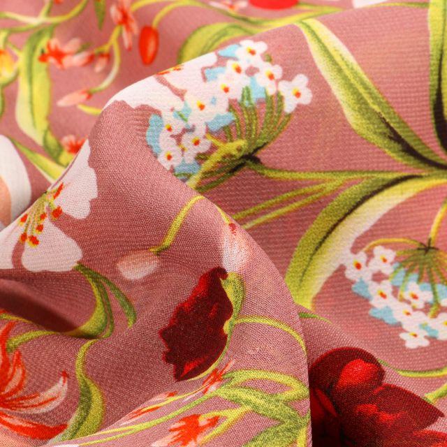 Tissu Mousseline Pivoines et fleurs colorés sur fond Bois de rose