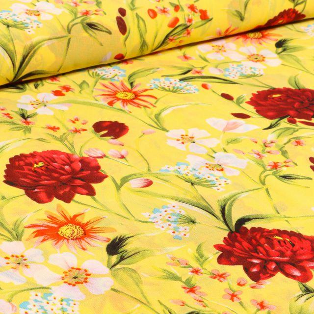 Tissu Mousseline Pivoines et fleurs colorés sur fond Jaune