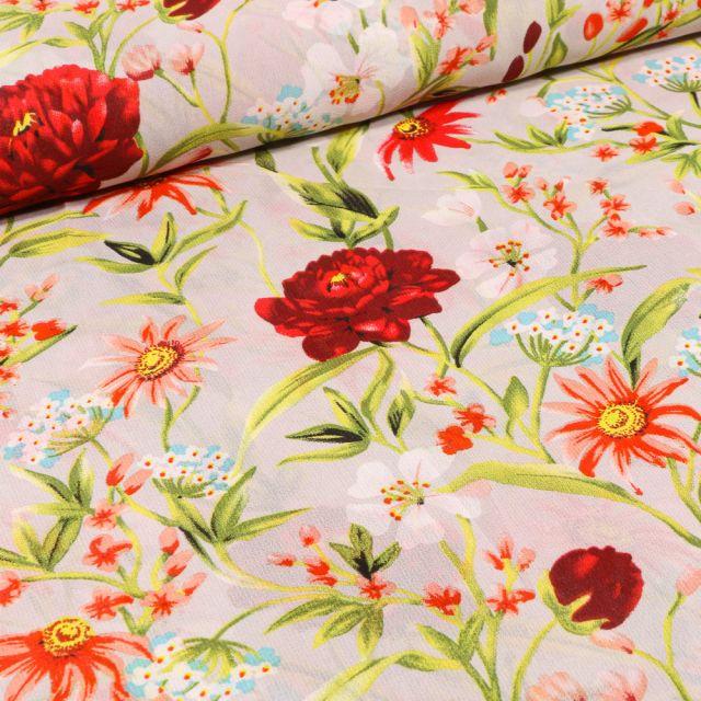 Tissu Mousseline Pivoines et fleurs colorés sur fond Beige