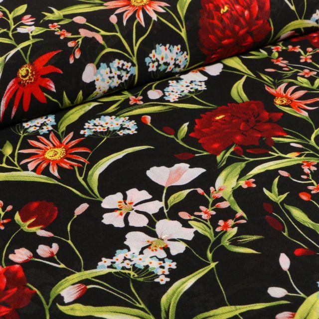 Tissu Mousseline Pivoines et fleurs colorés sur fond Noir