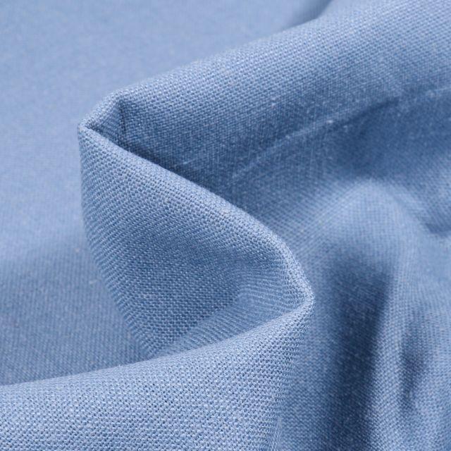 Tissu Coton Lin uni Bleu ciel