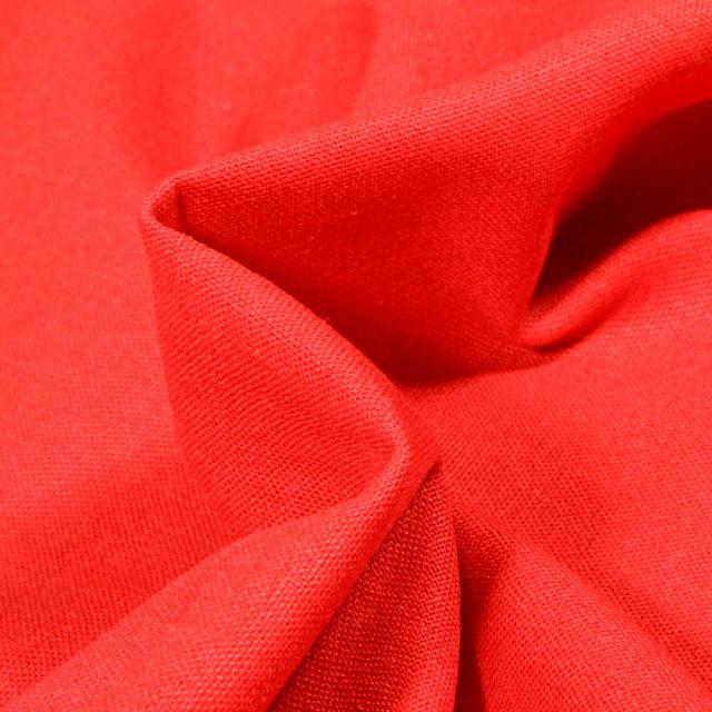 Tissu Coton Lin uni Rouge