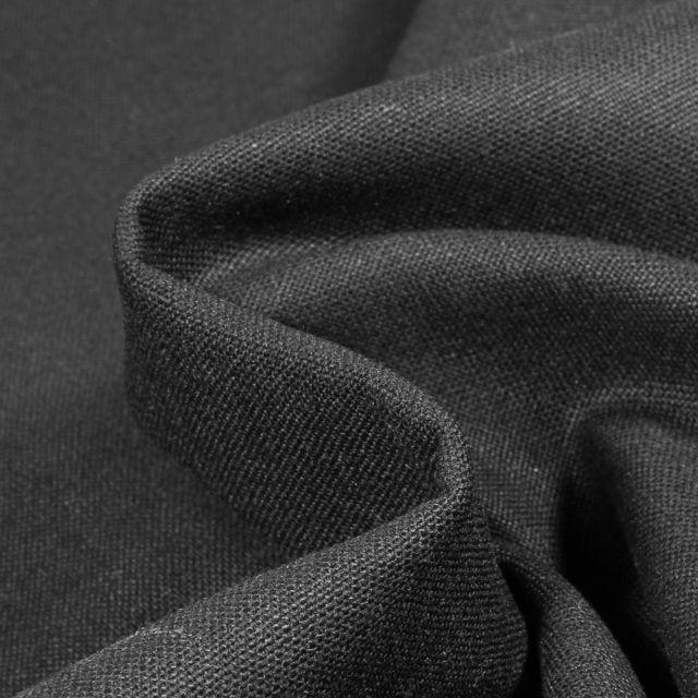 Tissu Coton Lin uni Noir