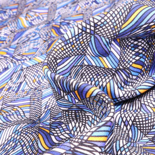 Tissu Jersey coton Formes psychédéliques sur fond Bleu