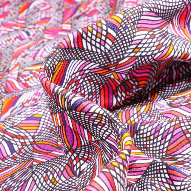 Tissu Jersey coton Formes psychédéliques sur fond Rose