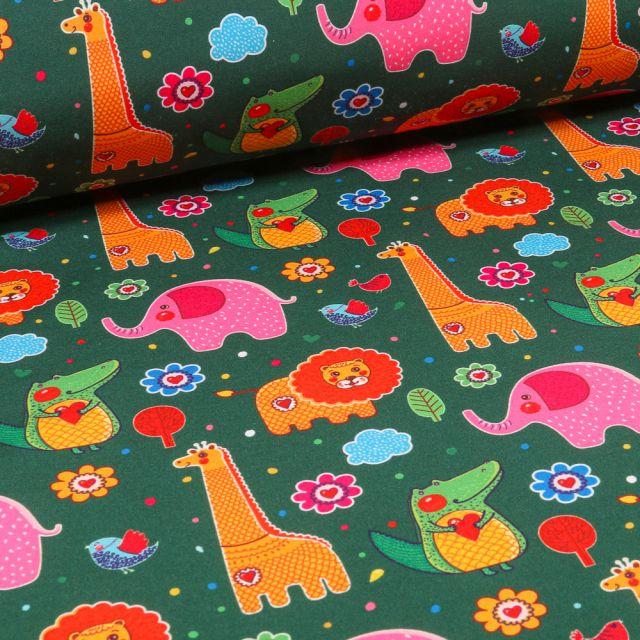 Tissu Softshell Animaux de la jungle multicolore sur fond Vert sapin