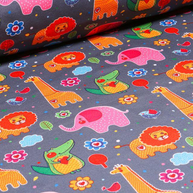Tissu Softshell Animaux de la jungle multicolore sur fond Gris