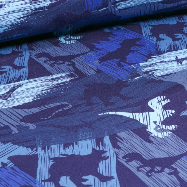Tissu Softshell Dinosaures sur fond Bleu