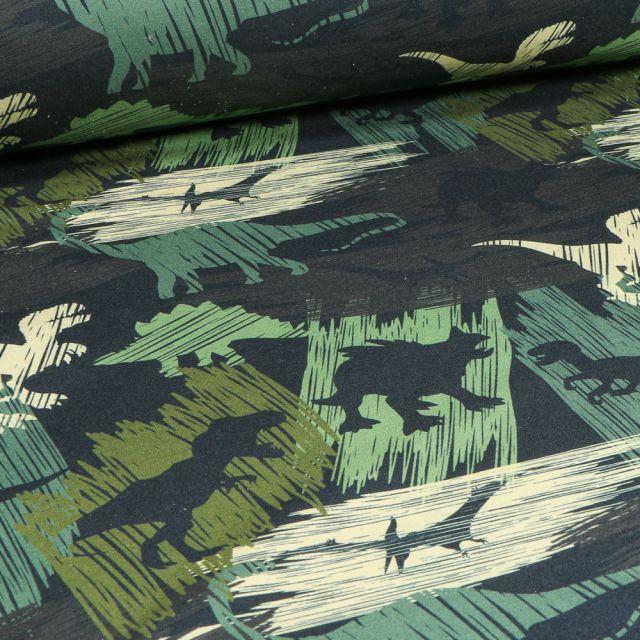 Tissu Softshell Dinosaures sur fond Vert foncé
