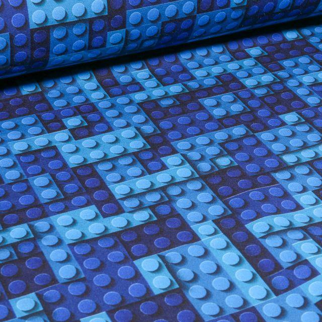 Tissu Softshell Jeux de construction sur fond Bleu