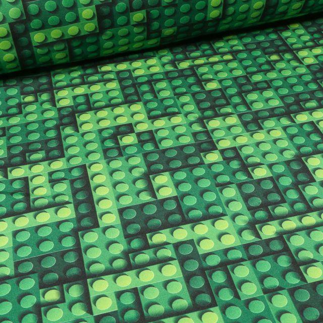 Tissu Softshell Jeux de construction sur fond Vert