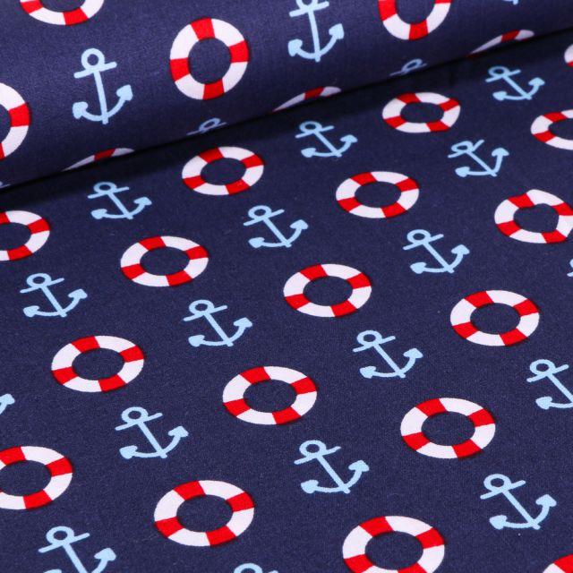 Tissu Coton imprimé Brest Ancres marine et bouée sur fond Bleu marine
