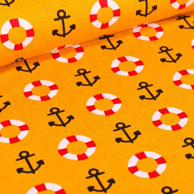 Tissu Coton imprimé Brest Ancres marine et bouée sur fond Jaune