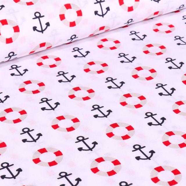 Tissu Coton imprimé Brest Ancres marine et bouée sur fond Blanc