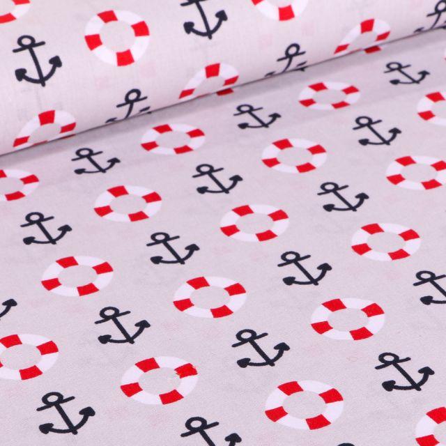 Tissu Coton imprimé Brest Ancres marine et bouée sur fond Gris