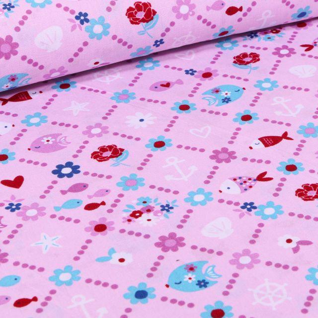 Tissu Coton imprimé LittleBird Poissons et fleurs sur fond Rose