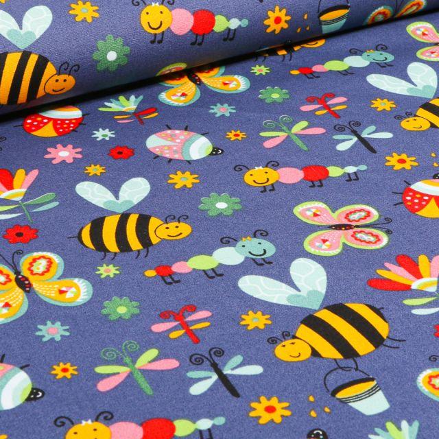 Tissu Coton imprimé LittleBird Insectes colorés sur fond Bleu