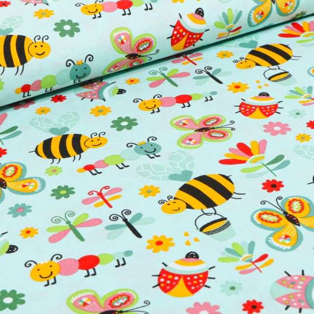 Tissu Coton imprimé LittleBird Insectes colorés sur fond Vert menthe clair