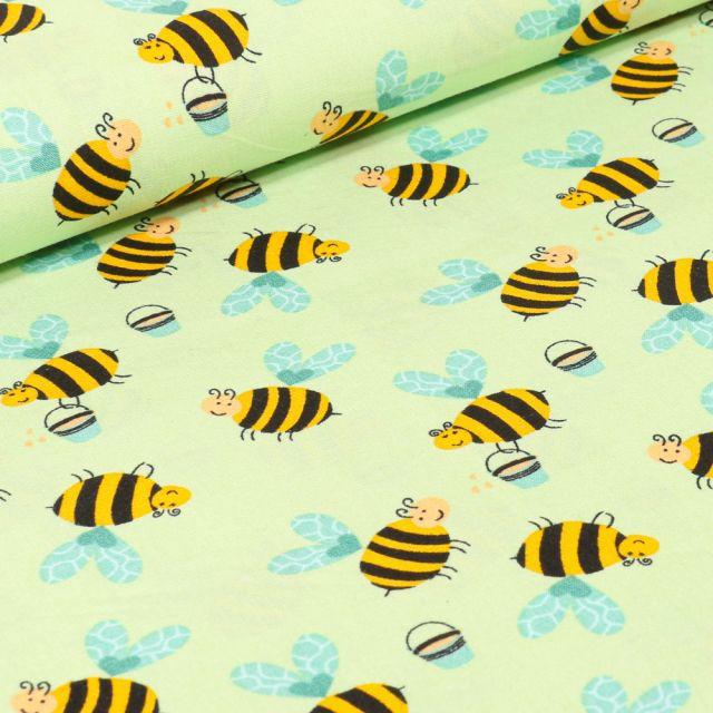 Tissu Coton imprimé LittleBird Abeilles sur fond Vert anis