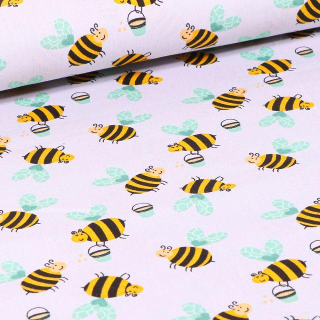 Tissu Coton imprimé LittleBird Abeilles sur fond Blanc cassé