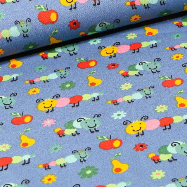 Tissu Coton imprimé LittleBird Chenilles et fruits sur fond Bleu