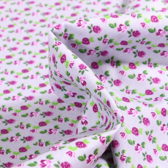 Tissu Coton imprimé Rosa sur fond Lilas