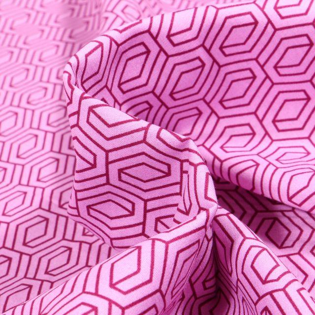 Tissu Coton imprimé LittleBird Motifs géométriques abstraits sur fond Rose bonbon