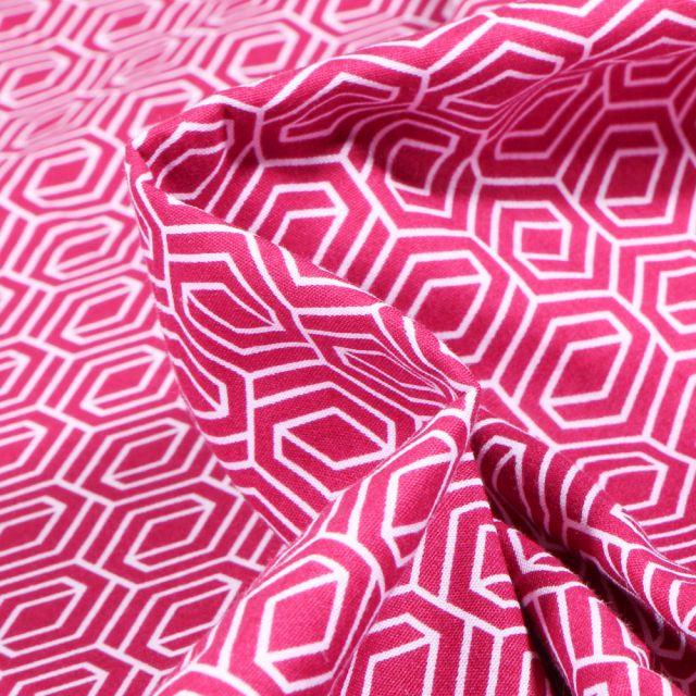Tissu Coton imprimé LittleBird Motifs géométriques abstraits sur fond Rose fuchsia