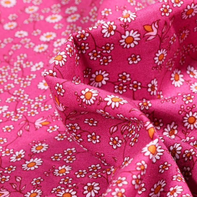 Tissu Coton imprimé LittleBird Pâquerettes et fleurs sur fond Rose fuchsia