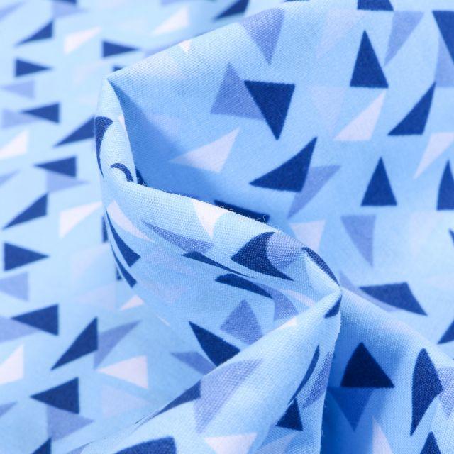 Tissu Coton imprimé LittleBird Triangles sur fond Bleu