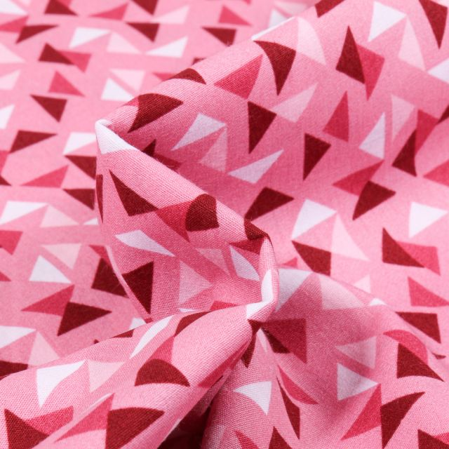 Tissu Coton imprimé LittleBird Triangles sur fond Rose