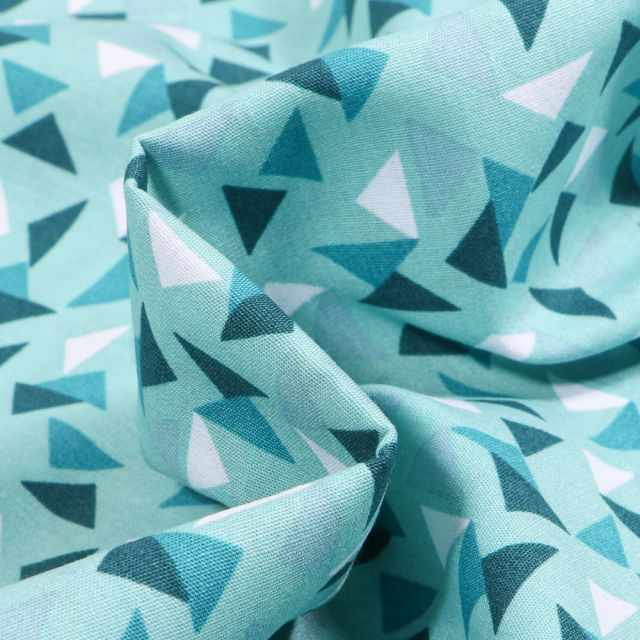 Tissu Coton imprimé LittleBird Triangles sur fond Bleu turquoise