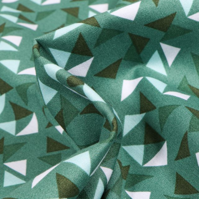 Tissu Coton imprimé LittleBird Triangles sur fond Vert