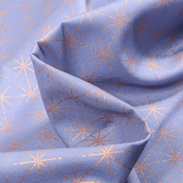 Tissu Coton imprimé Fines étoiles dorées sur fond Bleu ciel