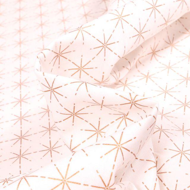 Tissu Coton imprimé Fines étoiles dorées sur fond Blanc cassé
