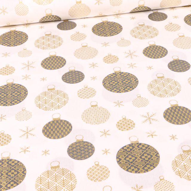 Tissu Coton imprimé Boules de décoration dorées noël sur fond Blanc cassé