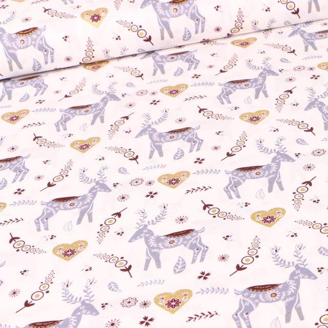 Tissu Coton imprimé Cerfs et cœurs dorés sur fond Blanc